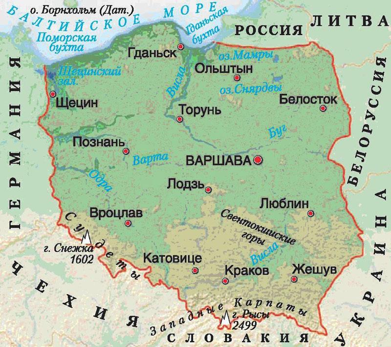 Польша, карта