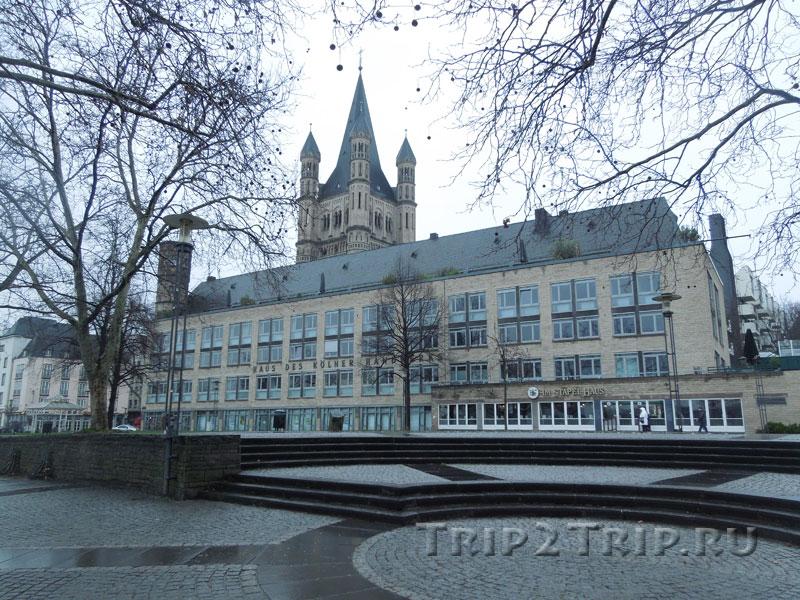 Большой Мартин и Рыночная Площадь, вид с Набережной Рейна, Кёльна