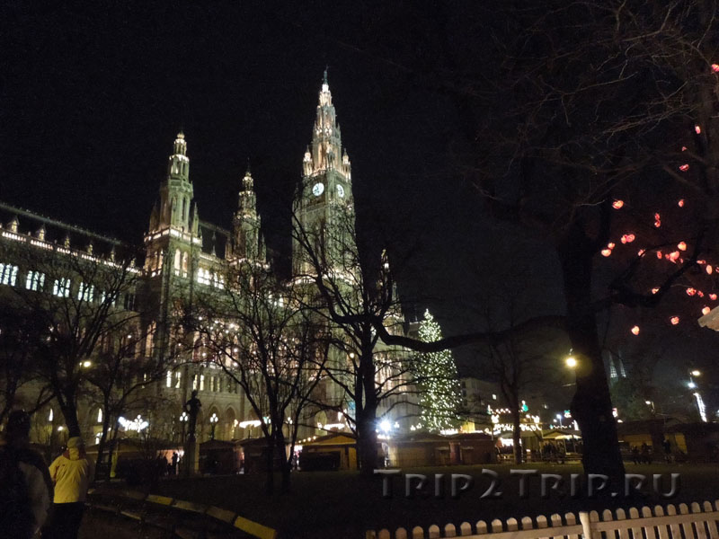 Рождественская ярмарка на Ратхаусплатц и Ратуша, Вена