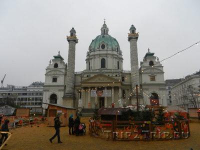 Карлскирхе с рождественской ярмаркой, Вена