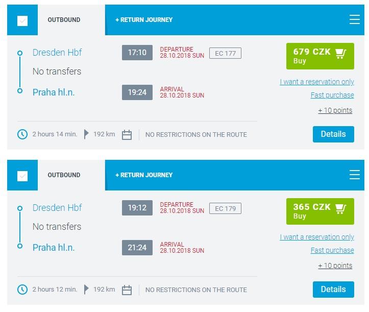 Расписание поездов Дрезден - Прага