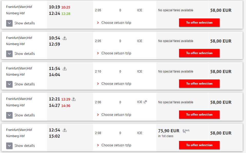Расписание поездов Франкфурт - Нюрнберг
