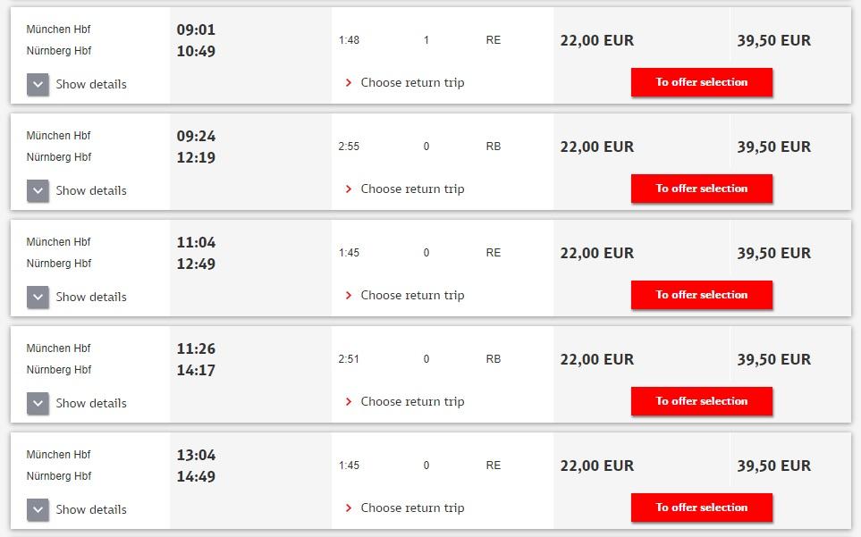 Расписание поездов RE Мюнхен - Нюрнберг