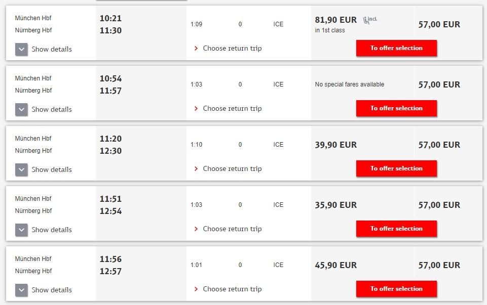 Расписание поездов ICE Мюнхен - Нюрнберг