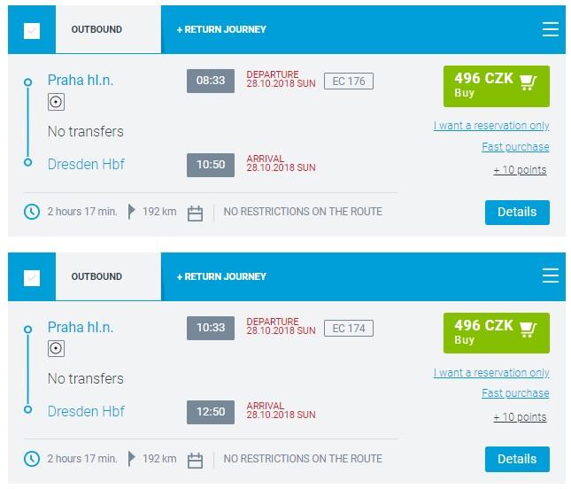 Расписание поездов Прага - Дрезден