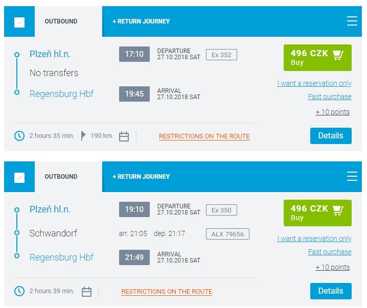 Расписание поездов Регенсбург - Пльзень
