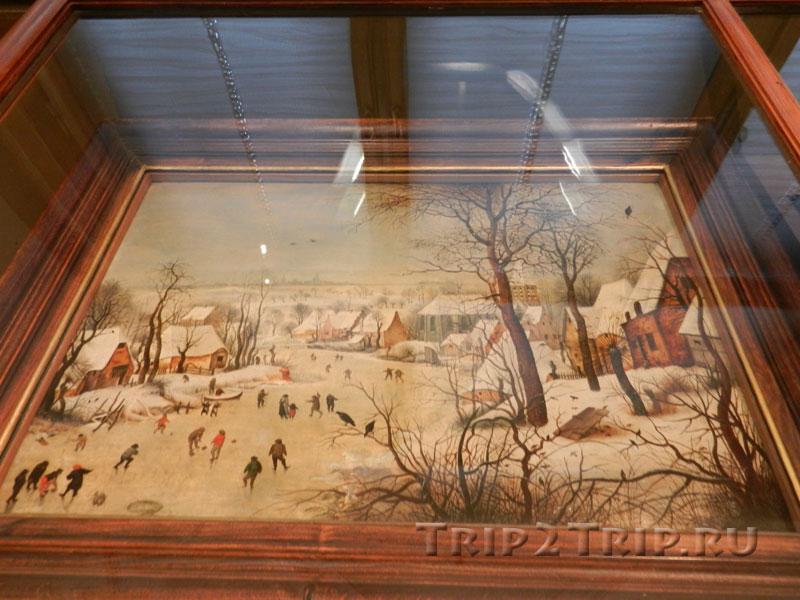 Зимний пейзаж с конькобежцами и ловушкой для птиц, Питер Брейгель Старший