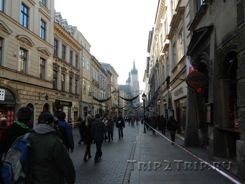 Флорианская улица с перспективой на Мариацкий костёл, Краков
