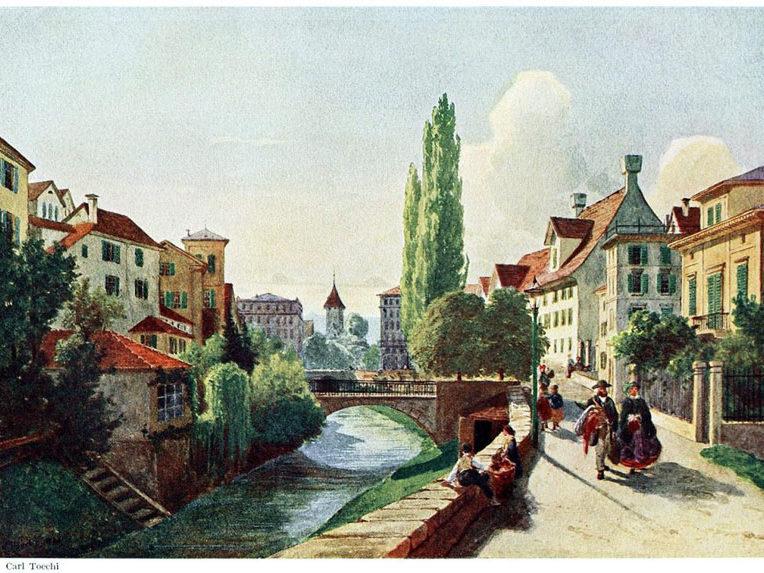 Фрёшенграбен на рисунке Карла Тёхи (Carl Toechi), 1860