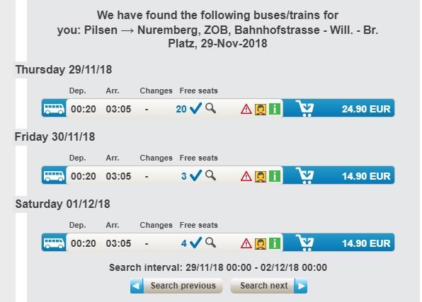 Расписание автобусов Пльзень - Нюрнберг компании RegioJet
