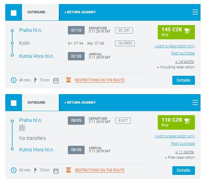 Расписание поездов Прага - Кутна-Гора