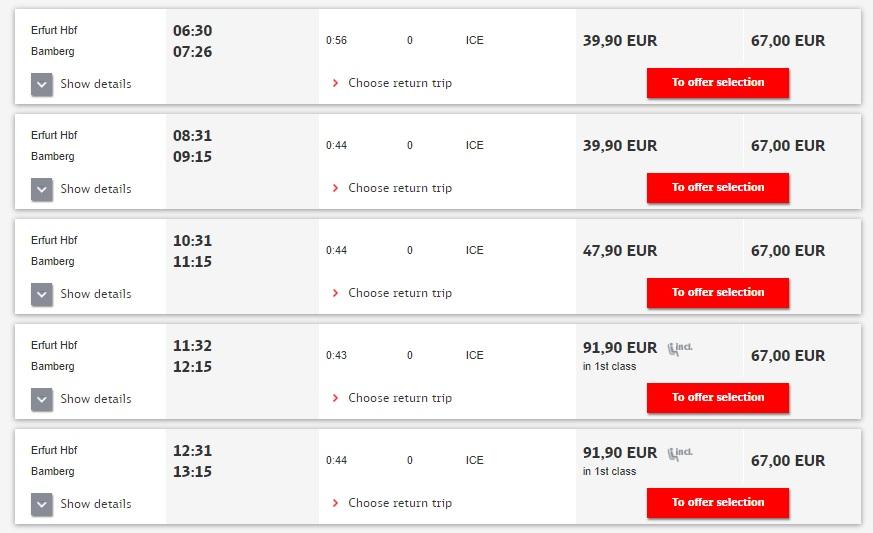Расписание поездов Эрфурт - Бамберг