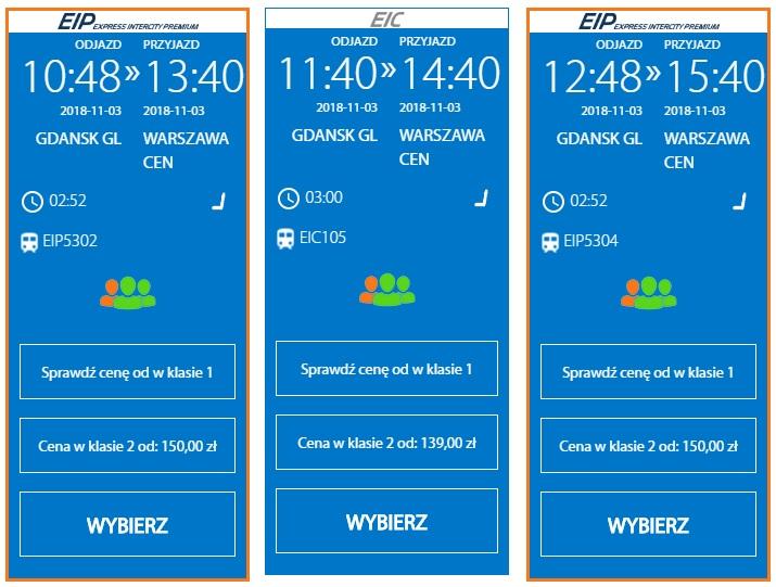 Расписание поездов Гданьск - Варшава