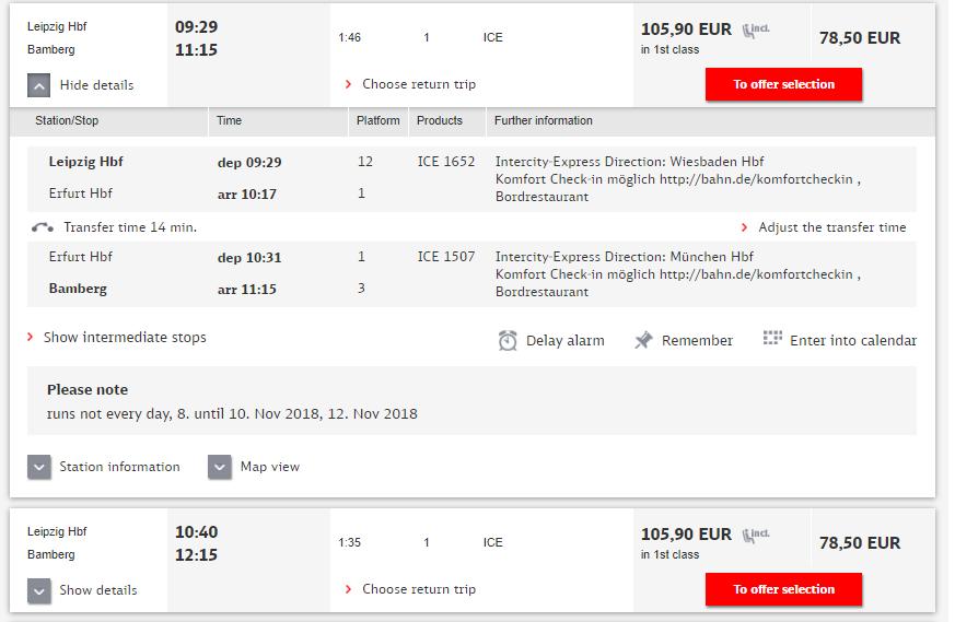 Расписание поездов Лейпциг - Бамберг