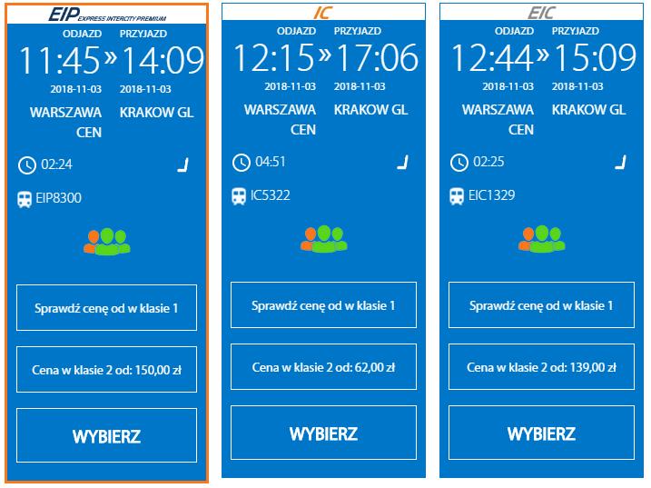 Расписание поездов Варшава- Краков