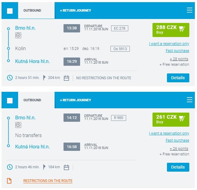 Расписание поездов Брно - Кутна-Гора