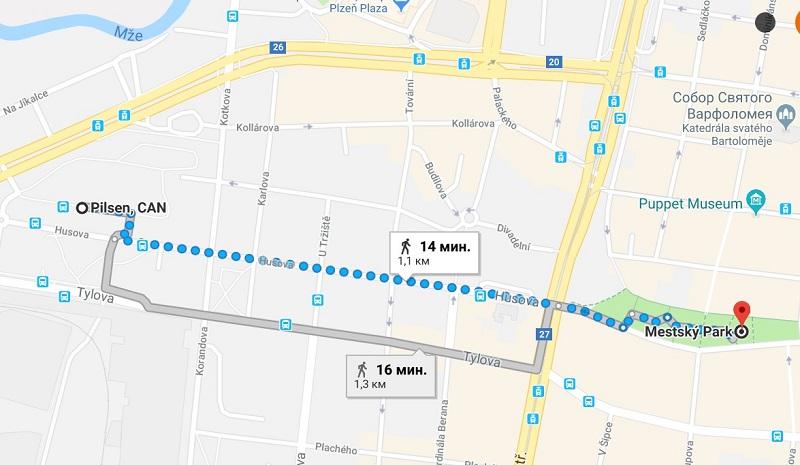 Как дойти от автовокзала до центра, Пльзень