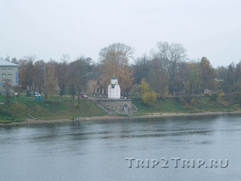 Вид на Завеличье в районе Ольгинской часовни, Псков