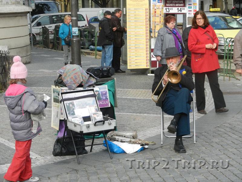 Уличный музыкант на Староместской площади, Прага