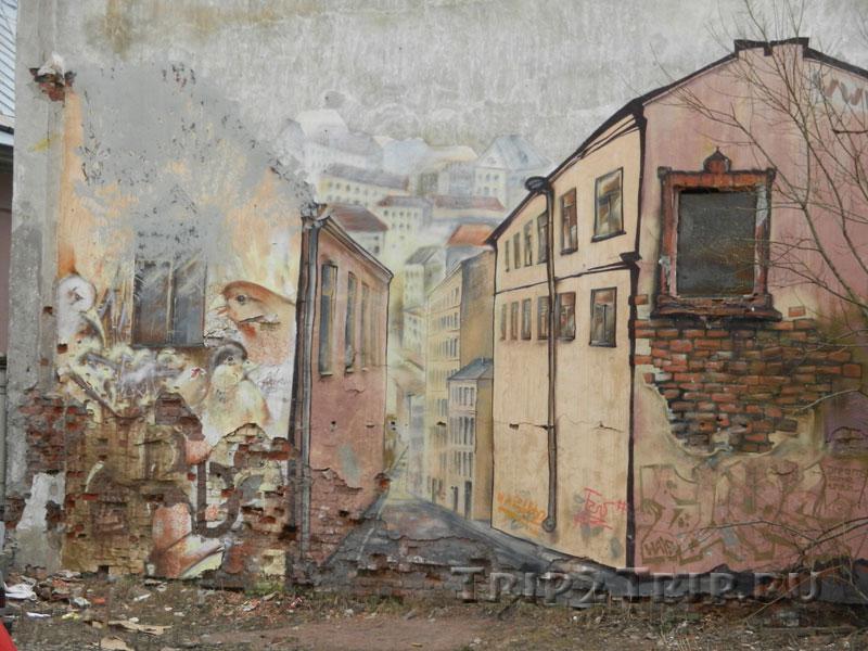 Граффити на одной из стен Старого Города, Выборг