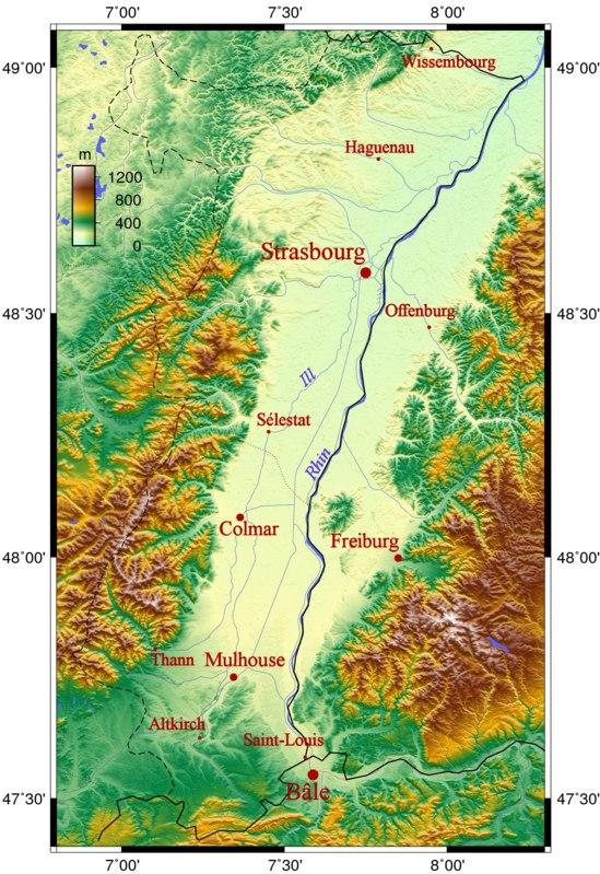 Карта Эльзаса