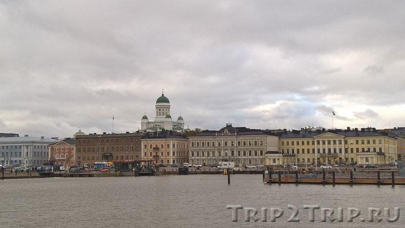 Порт и Рыночная площадь, вид с парома, Хельсинки