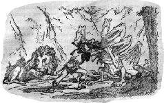 """Брунцвик помогает льву победить дракона. (Иллюстрация из книги """"Старинные чешские сказания"""" в сокращённом переводе Ф. Боголюбовой, 1952 г.)"""