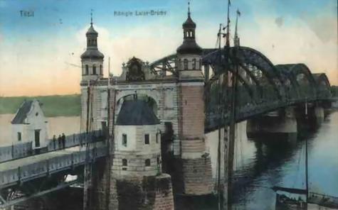 Мост Королевы Луизы в Тильзите, довоенная немецкая открытка