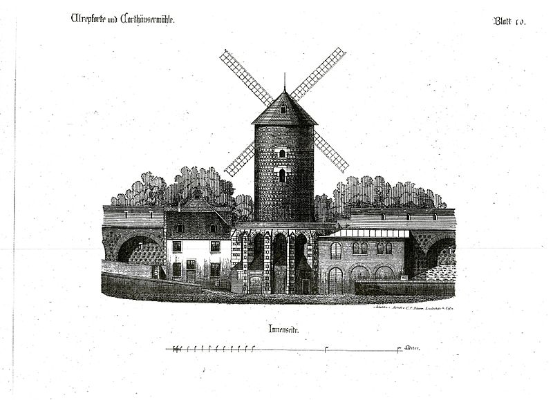 -Мельница картезианского монастыря (из альбома C.F.Kaiser, Кёльнские городские ворота и укрепления 1180-82, 1883, лист 10)