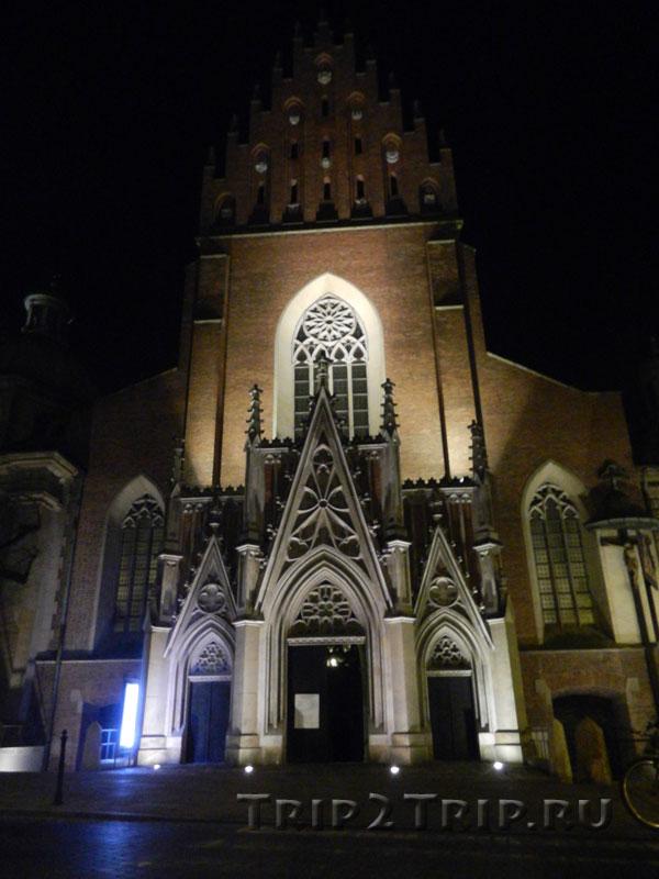 Базилика Святой Троицы ночью, Краков