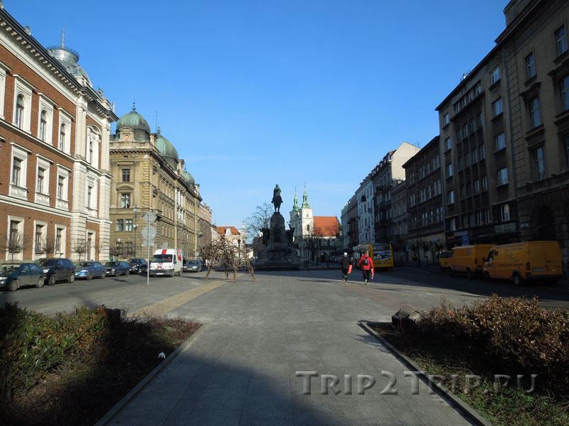 Площадь Яна Матейки в сторону костёла св. Флориана, Краков