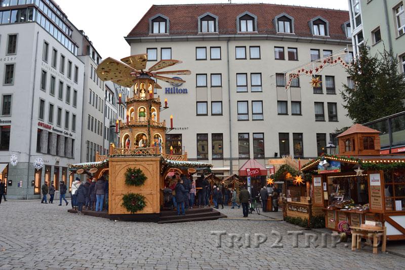 Рождественский базар Weihnachtsmarkt an der Frauenkirche, Дрезден