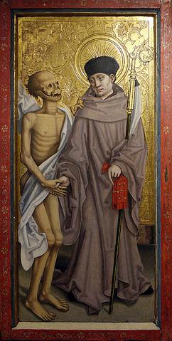 Святой Фридолин в сопровождении мертвеца, Мастер Гвоздики (швецарский живописец конца XV века), хранится в дижонском Музее изобразительных искусств