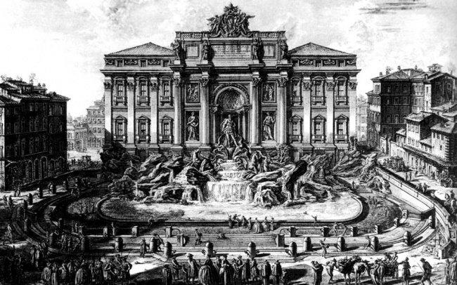 Фонтан Треви на гравюре Пиранези (1750-52 гг.)