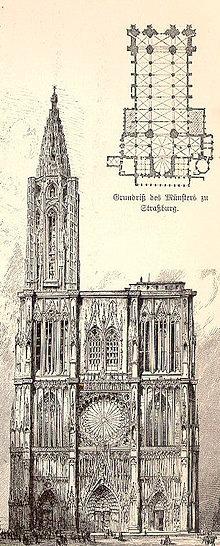 Фасад и план страсбургского собора