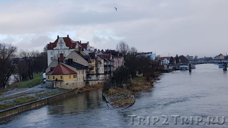 Остров и район Унтерер-Вёрд в Регенсбурге