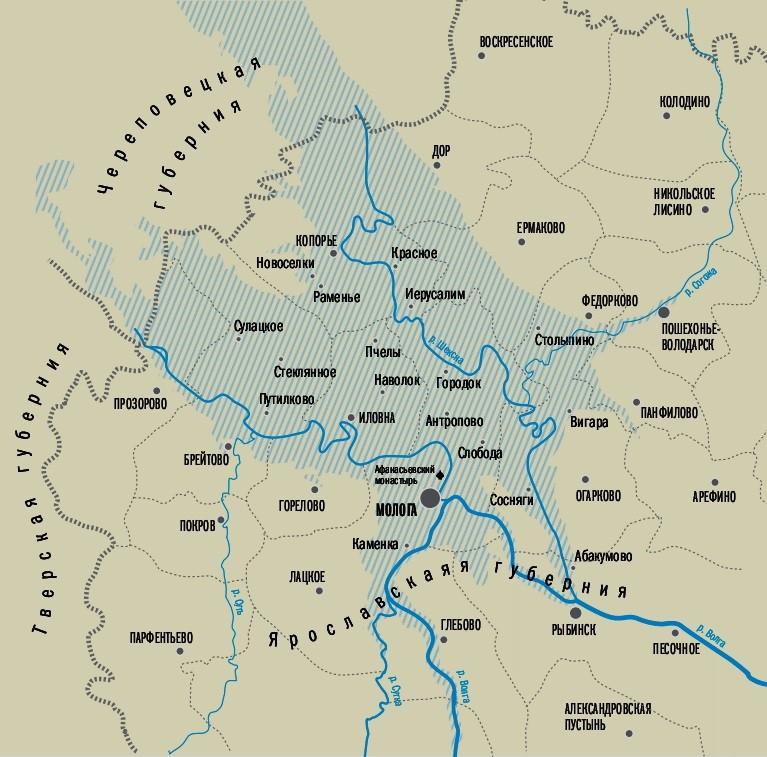 Карта Рыбинского водохранилища до затопления