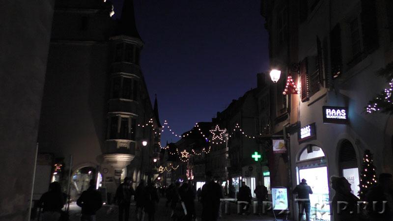 Дом с аркадами ночью, Большая улица, Кольмар