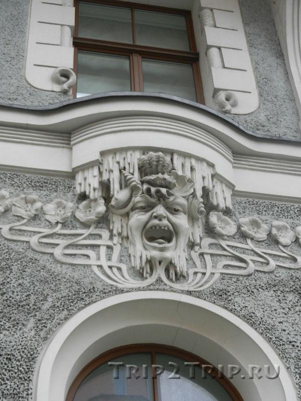Маскарон на доме по адресу Гертрудес,10, Рига