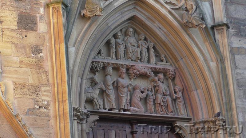 Тимпан над главным порталом западного фасада, собор Сен-Мартен, Кольмар