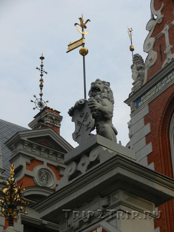 Скульптура льва-гербоносца у дома Черноголовых, Ратушная площадь, Рига