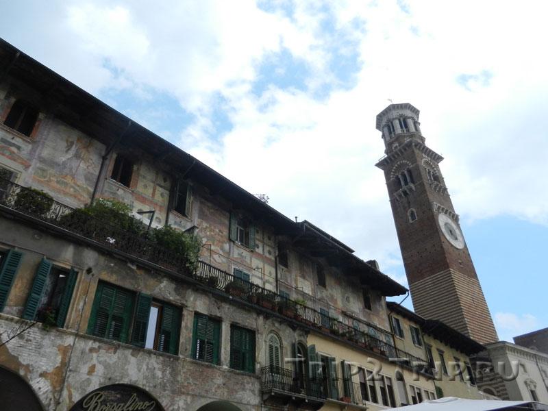 Дом Маццанти и башня Ламберти, пьяцца-делле-Эрбе, Верона