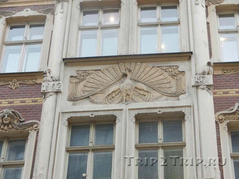 Межоконный орнамент в виде павлина, дом на Смилшу, 2, Рига