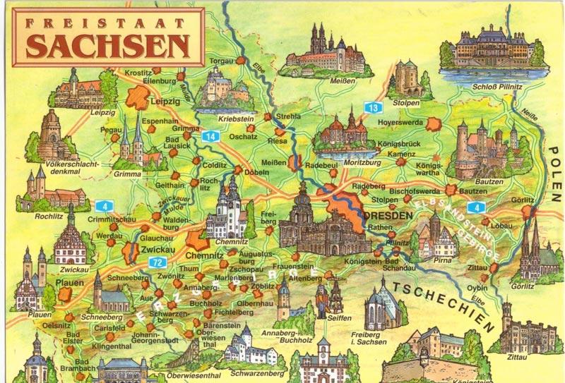Туристическая карта Саксонии, Германия