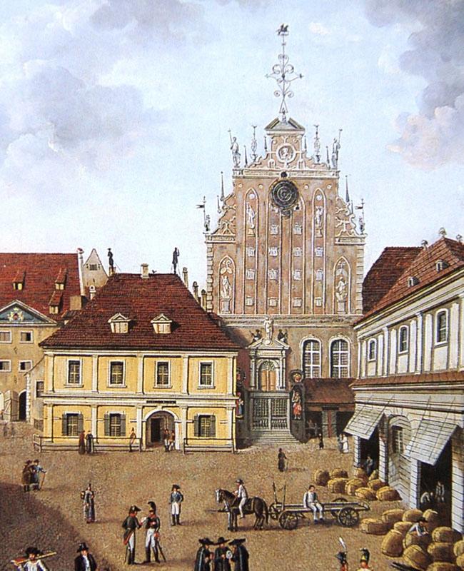 Здание суда и полиции на месте будущего дома Шваба, Ратушная площадь, Рига (Акварель Фехельма, 1816)