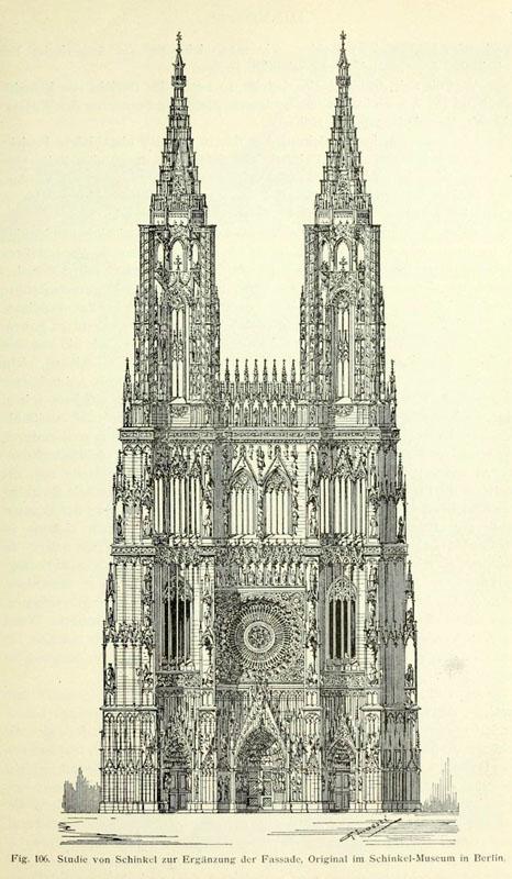 Гравюра, показывающая, каким должен быть страсбургский собор, если бы вторая башня была достроена
